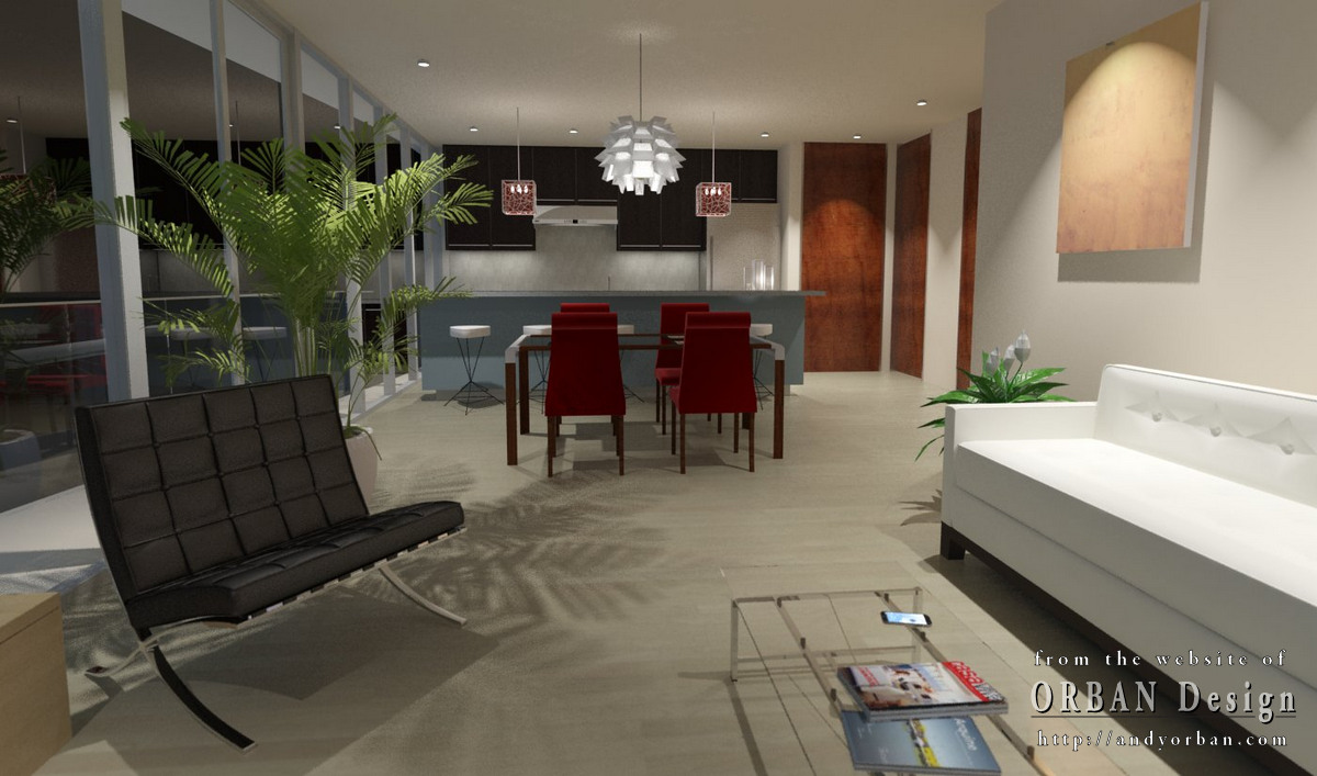 modern condo interior night