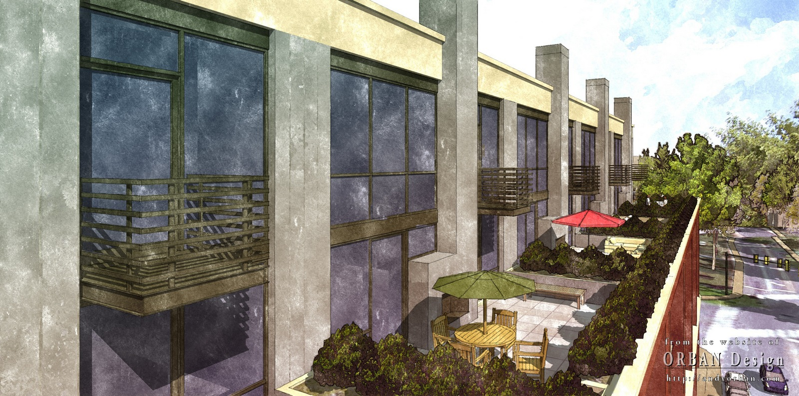 Watercolor style renderings charlottesville for Site plan rendering software