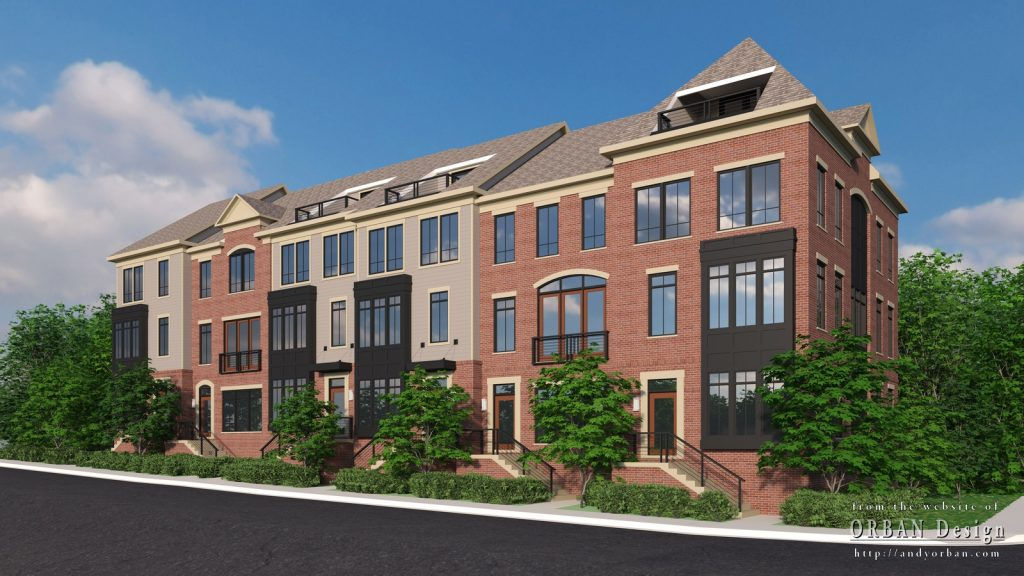 Marketing renderings of townhouses that are currently under construction.