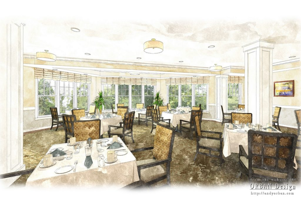 Illustration of a proposed dining room in an assisted living facility